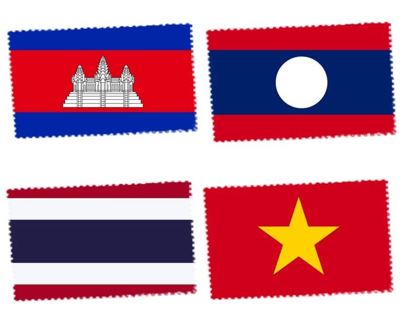 DRAPEAUX LAOS CAMBODGE THAILANDE VIETNAM